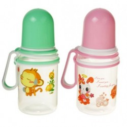 Бутылочка для кормления «Весёлые животные» с силиконовой соской, 150 мл, с ручкой, от 12 мес., цвета МИКС