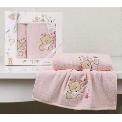 """комплект полотенец """"KARNA""""BAMBINO-BEAR 50x70-70х120 см Роз"""